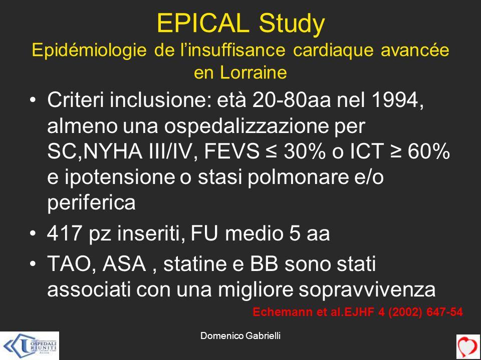 EPICAL Study Epidémiologie de l'insuffisance cardiaque avancée en Lorraine
