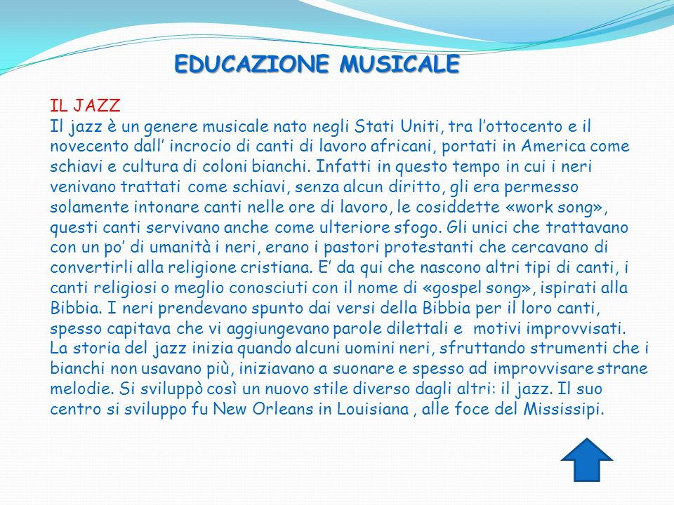 EDUCAZIONE MUSICALE IL JAZZ