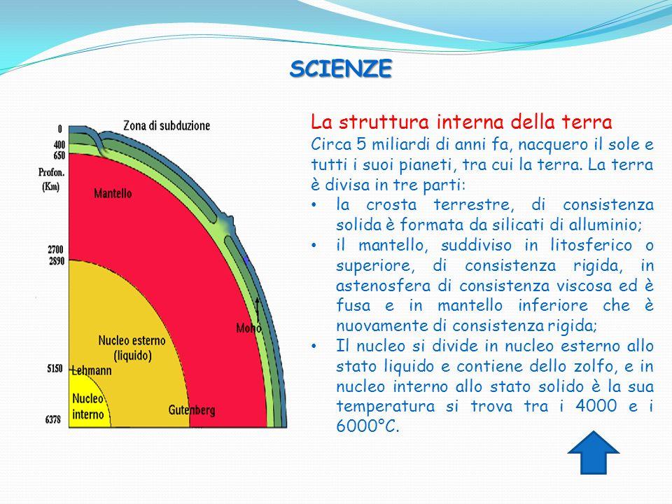 SCIENZE La struttura interna della terra