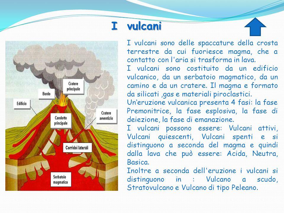 I vulcani I vulcani sono delle spaccature della crosta terrestre da cui fuoriesce magma, che a contatto con l aria si trasforma in lava.