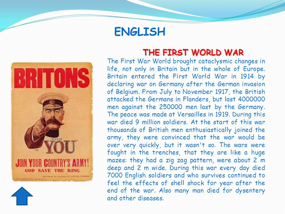 ENGLISH THE FIRST WORLD WAR