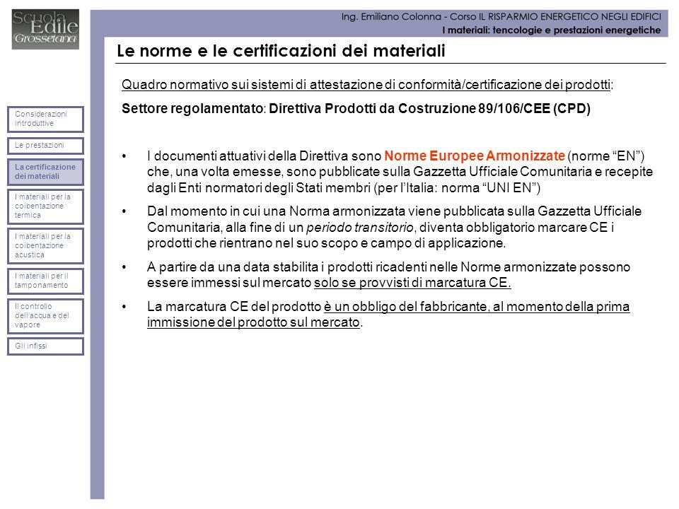 Le norme e le certificazioni dei materiali