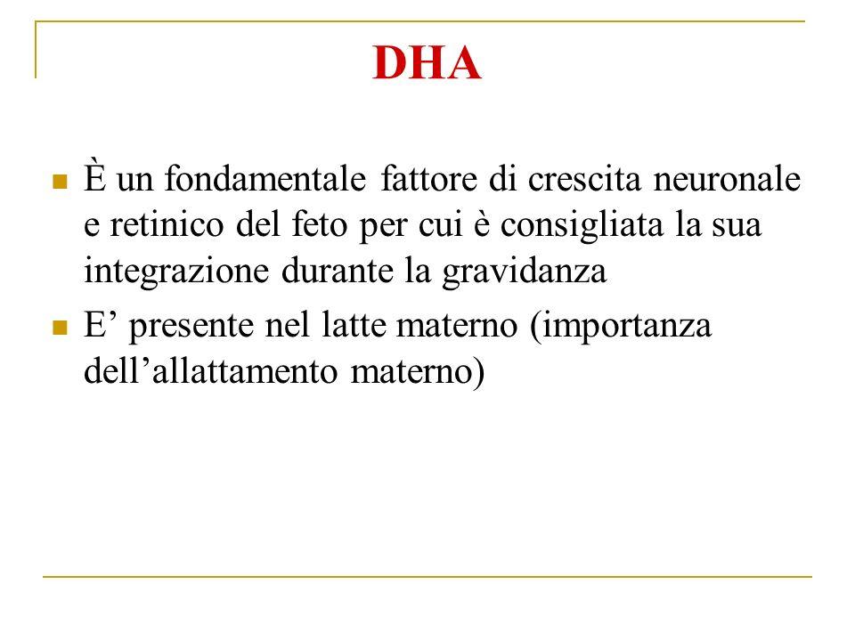 DHA È un fondamentale fattore di crescita neuronale e retinico del feto per cui è consigliata la sua integrazione durante la gravidanza.