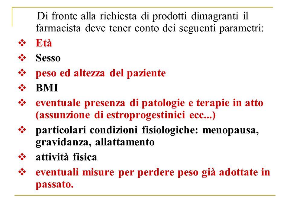 Di fronte alla richiesta di prodotti dimagranti il farmacista deve tener conto dei seguenti parametri: