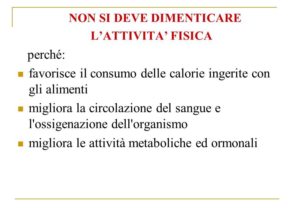 favorisce il consumo delle calorie ingerite con gli alimenti