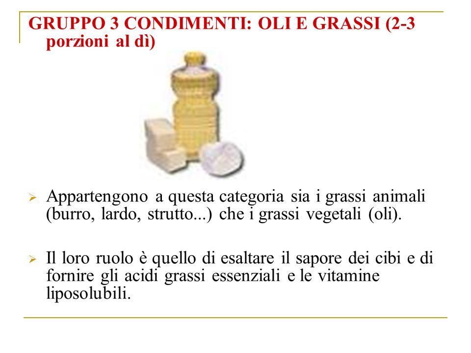 GRUPPO 3 CONDIMENTI: OLI E GRASSI (2-3 porzioni al dì)
