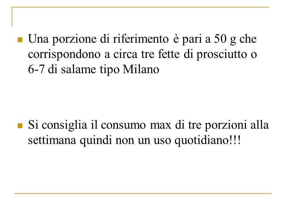 Una porzione di riferimento è pari a 50 g che corrispondono a circa tre fette di prosciutto o 6-7 di salame tipo Milano