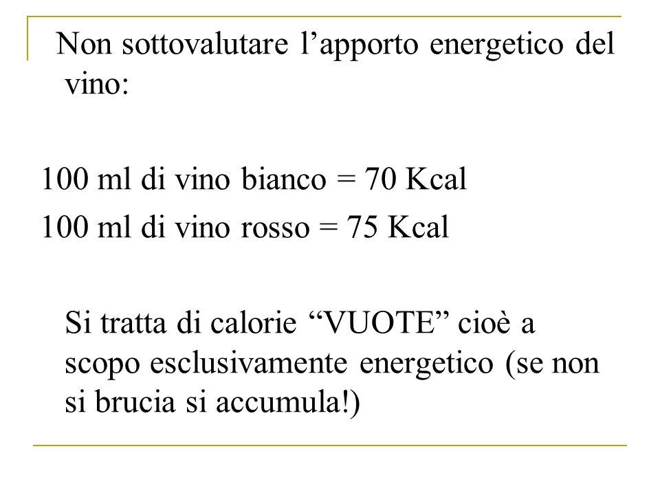 Non sottovalutare l'apporto energetico del vino:
