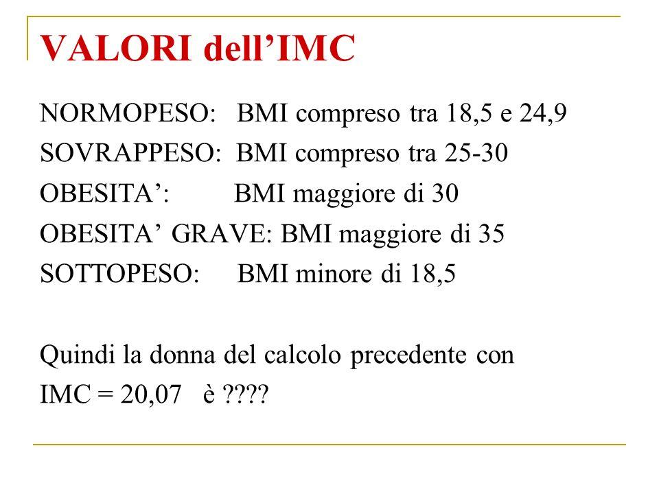 VALORI dell'IMC NORMOPESO: BMI compreso tra 18,5 e 24,9