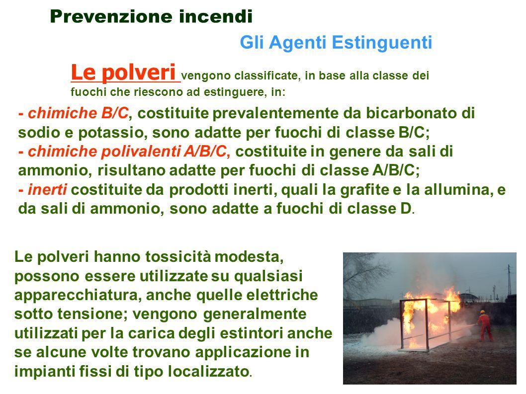 Prevenzione incendi Gli Agenti Estinguenti. Le polveri vengono classificate, in base alla classe dei fuochi che riescono ad estinguere, in: