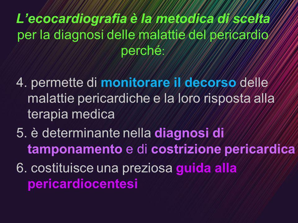 L'ecocardiografia è la metodica di scelta per la diagnosi delle malattie del pericardio perché:
