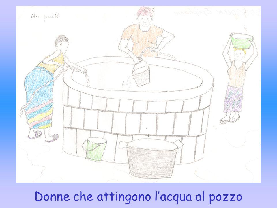 Donne che attingono l'acqua al pozzo