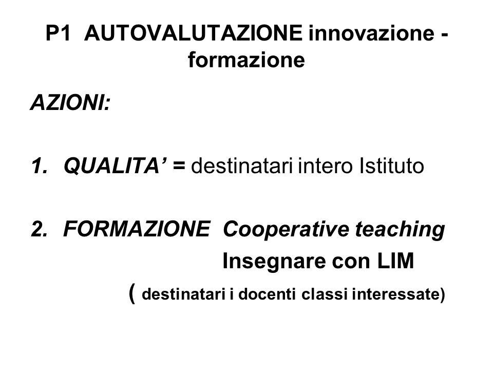 P1 AUTOVALUTAZIONE innovazione - formazione