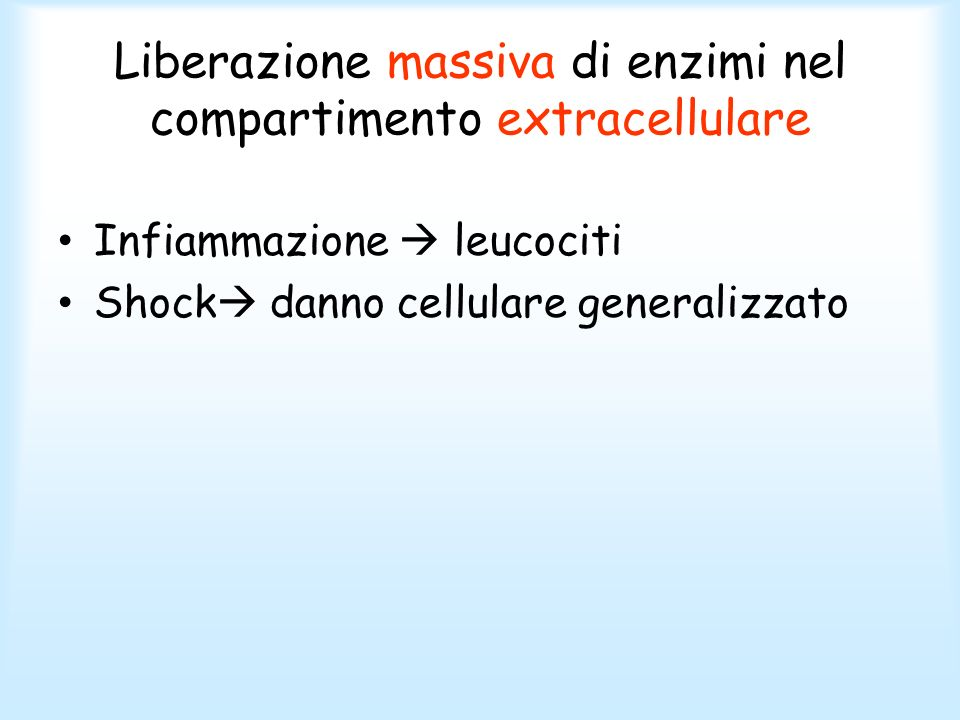 Liberazione massiva di enzimi nel compartimento extracellulare