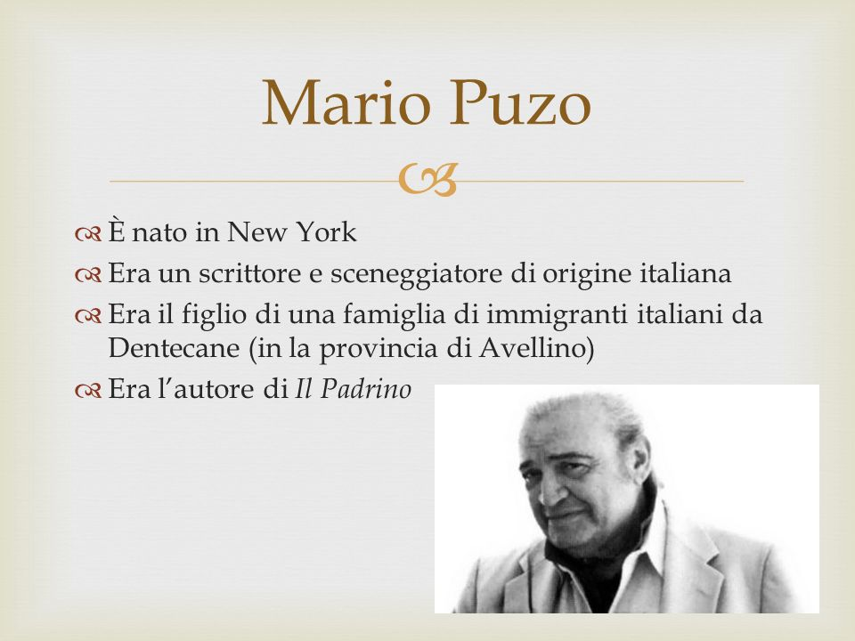 Mario Puzo È nato in New York