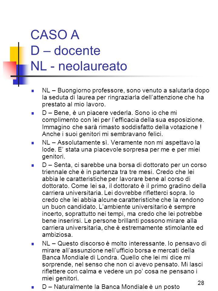 CASO A D – docente NL - neolaureato