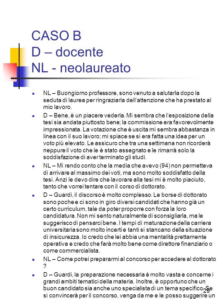 CASO B D – docente NL - neolaureato