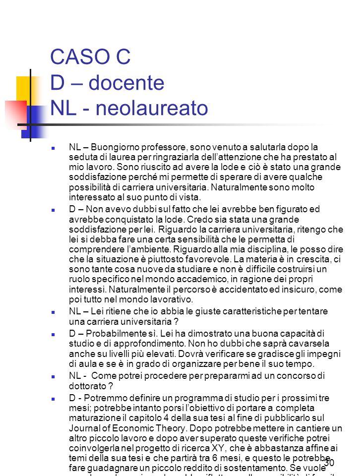 CASO C D – docente NL - neolaureato