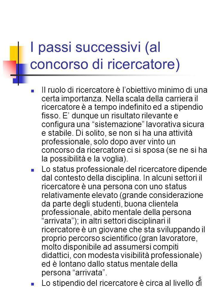 I passi successivi (al concorso di ricercatore)