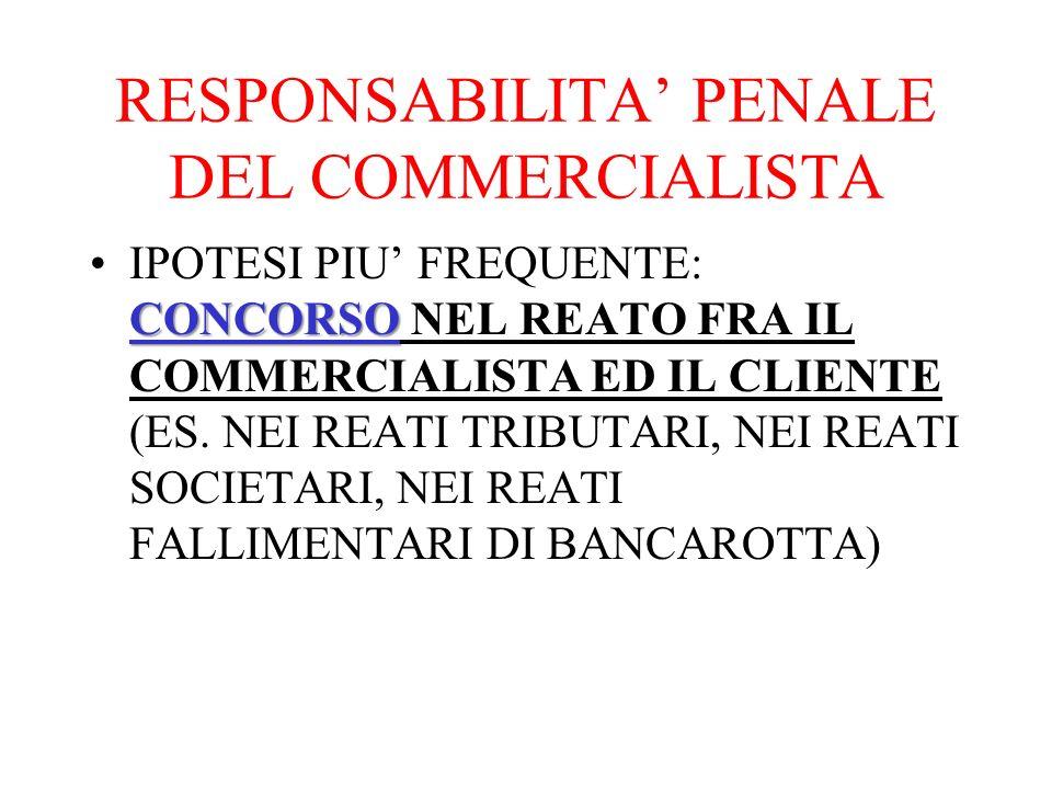 RESPONSABILITA' PENALE DEL COMMERCIALISTA