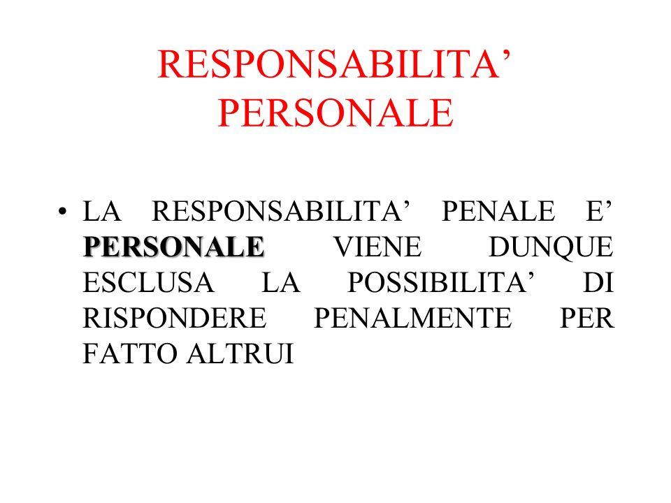 RESPONSABILITA' PERSONALE