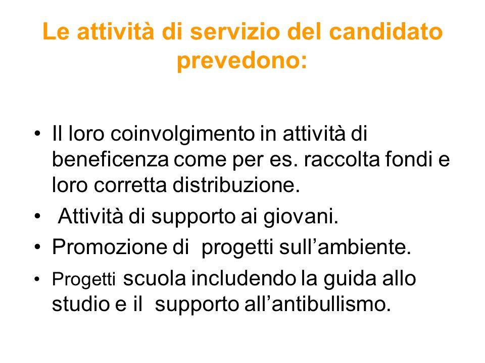 Le attività di servizio del candidato prevedono: