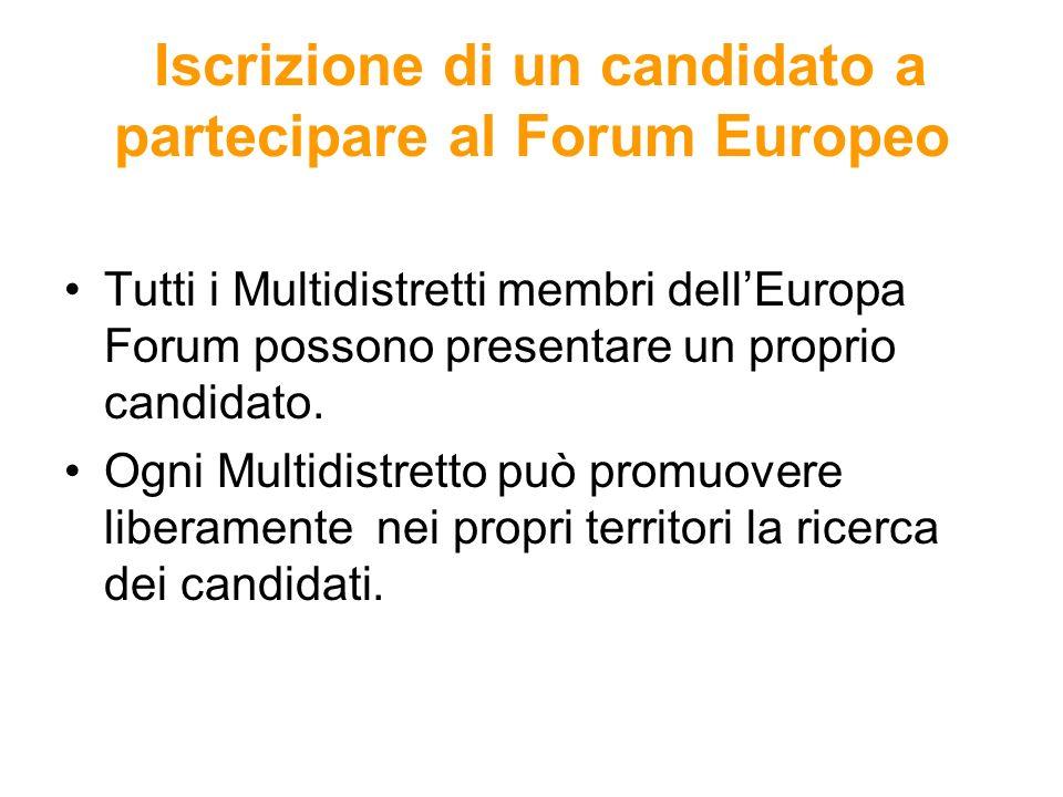 Iscrizione di un candidato a partecipare al Forum Europeo