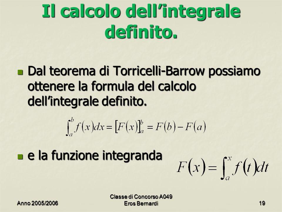 Il calcolo dell'integrale definito.