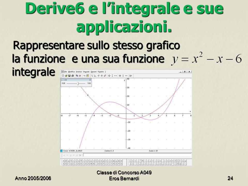 Derive6 e l'integrale e sue applicazioni.