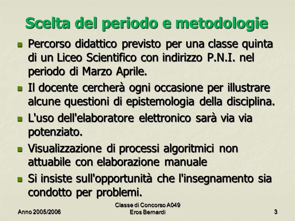 Scelta del periodo e metodologie