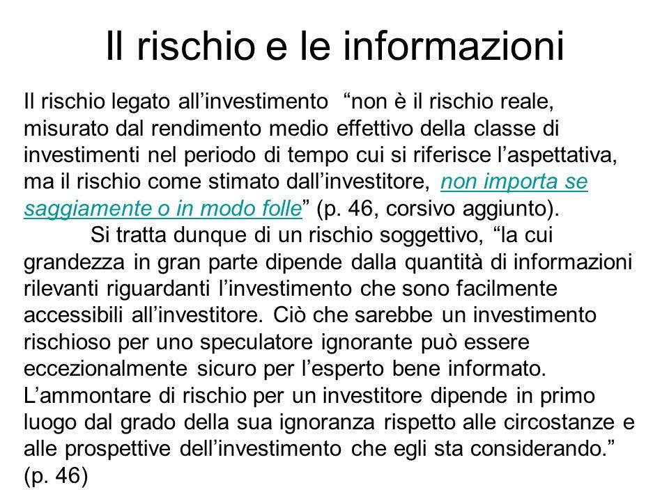 Il rischio e le informazioni