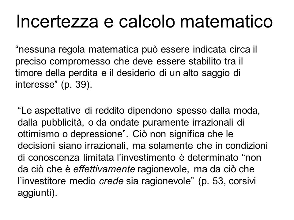 Incertezza e calcolo matematico