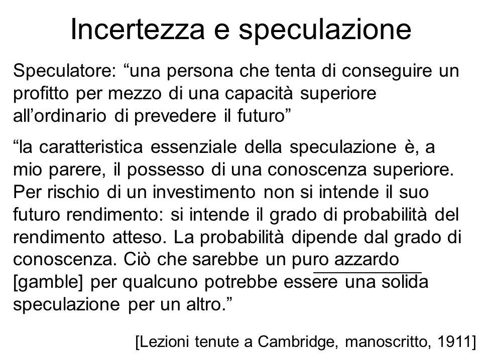 Incertezza e speculazione