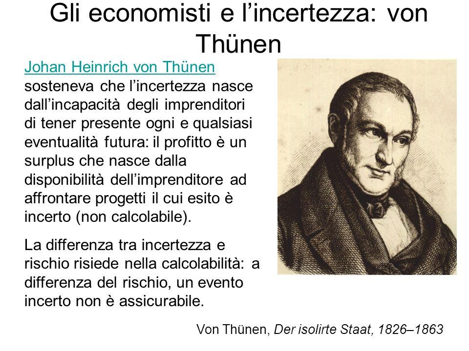 Gli economisti e l'incertezza: von Thünen