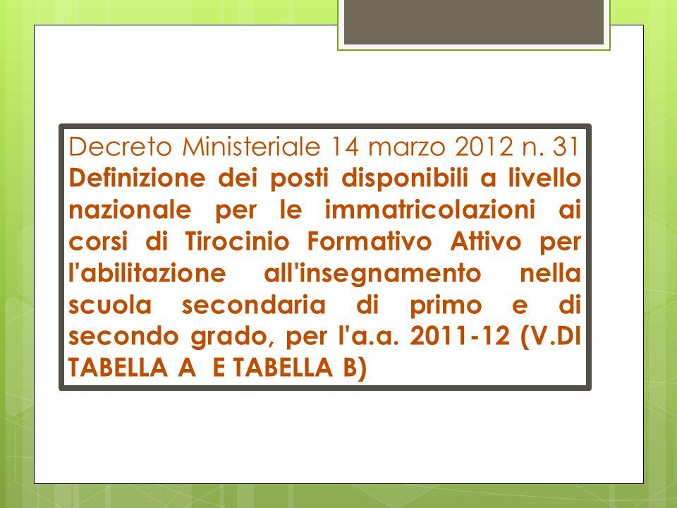 Decreto Ministeriale 14 marzo 2012 n