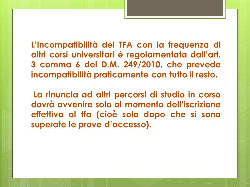 L'incompatibilità del TFA con la frequenza di altri corsi universitari è regolamentata dall'art. 3 comma 6 del D.M. 249/2010, che prevede incompatibilità praticamente con tutto il resto.