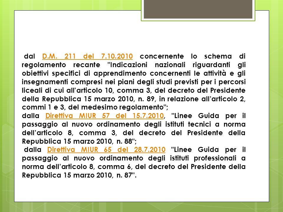 dal D.M. 211 del 7.10.2010 concernente lo schema di regolamento recante Indicazioni nazionali riguardanti gli obiettivi specifici di apprendimento concernenti le attività e gli insegnamenti compresi nei piani degli studi previsti per i percorsi liceali di cui all'articolo 10, comma 3, del decreto del Presidente della Repubblica 15 marzo 2010, n. 89, in relazione all'articolo 2, commi 1 e 3, del medesimo regolamento ;