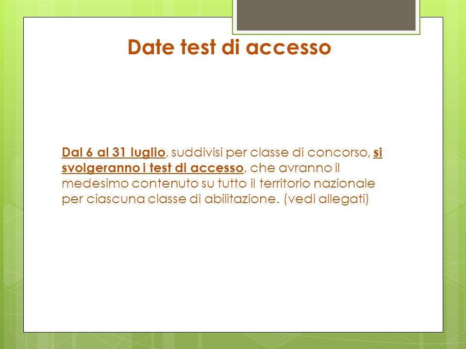 Date test di accesso