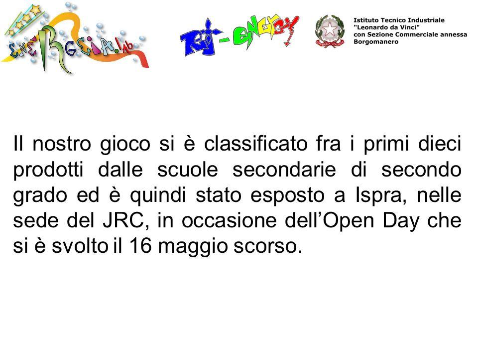 Il nostro gioco si è classificato fra i primi dieci prodotti dalle scuole secondarie di secondo grado ed è quindi stato esposto a Ispra, nelle sede del JRC, in occasione dell'Open Day che si è svolto il 16 maggio scorso.