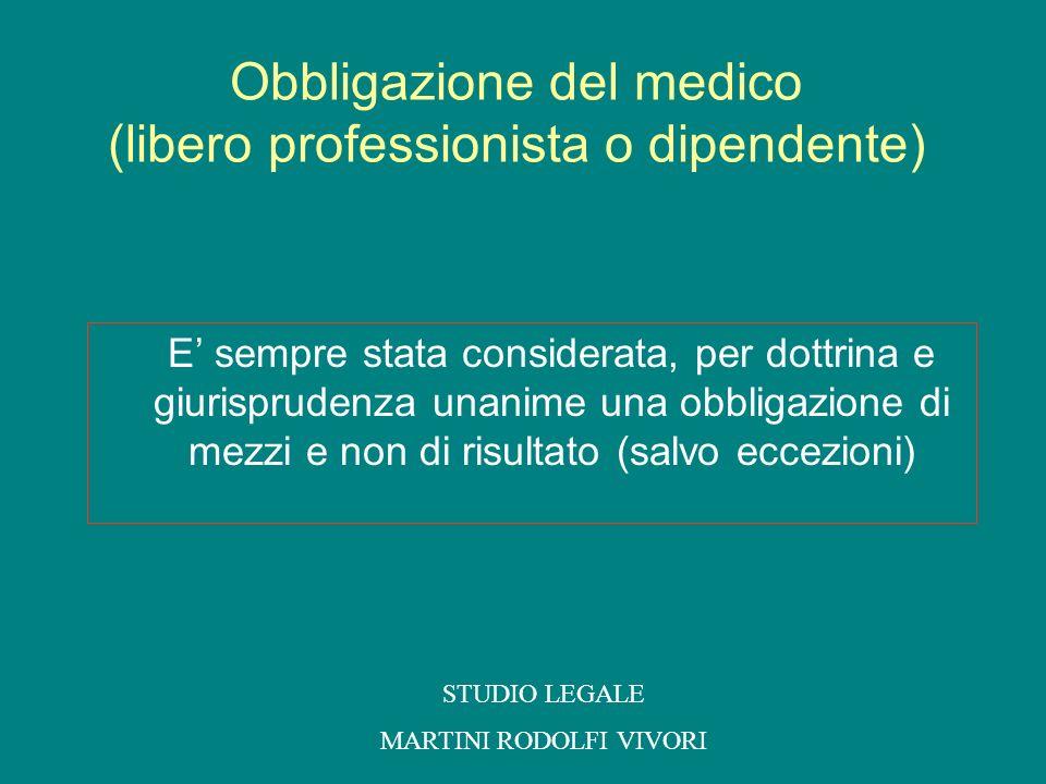 Obbligazione del medico (libero professionista o dipendente)