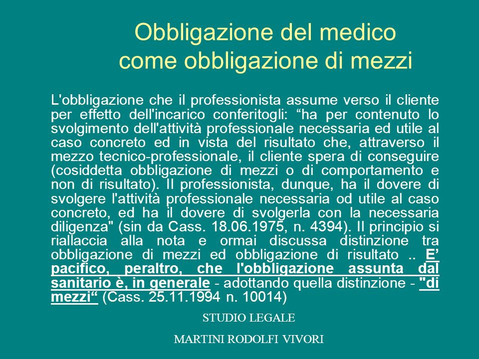 Obbligazione del medico come obbligazione di mezzi