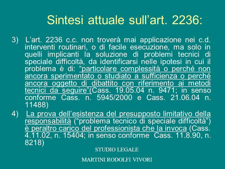 Sintesi attuale sull'art. 2236:
