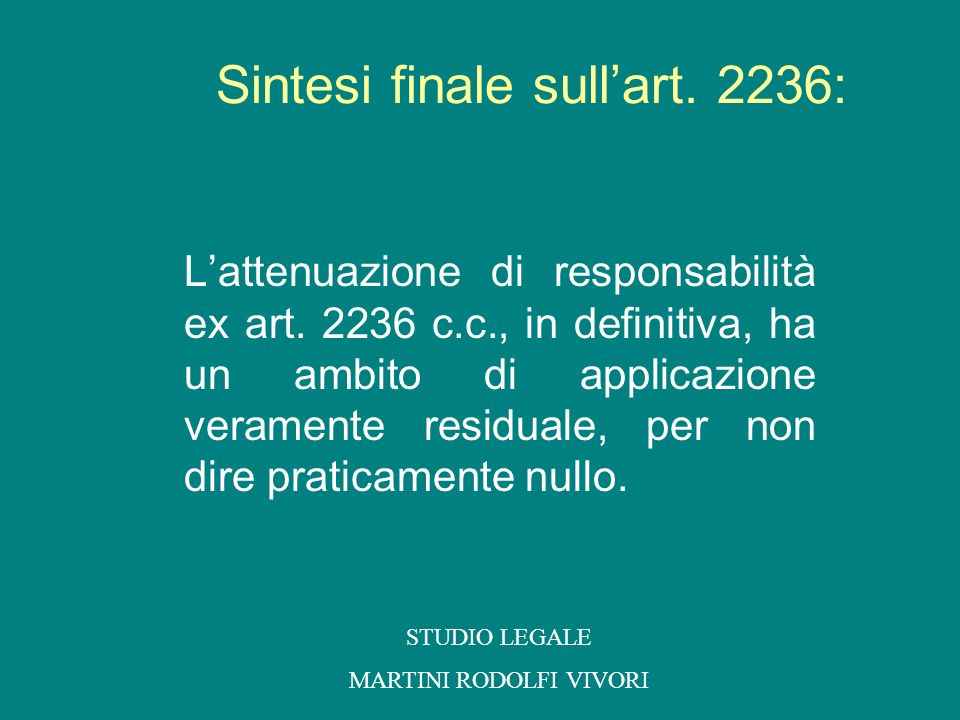 Sintesi finale sull'art. 2236: