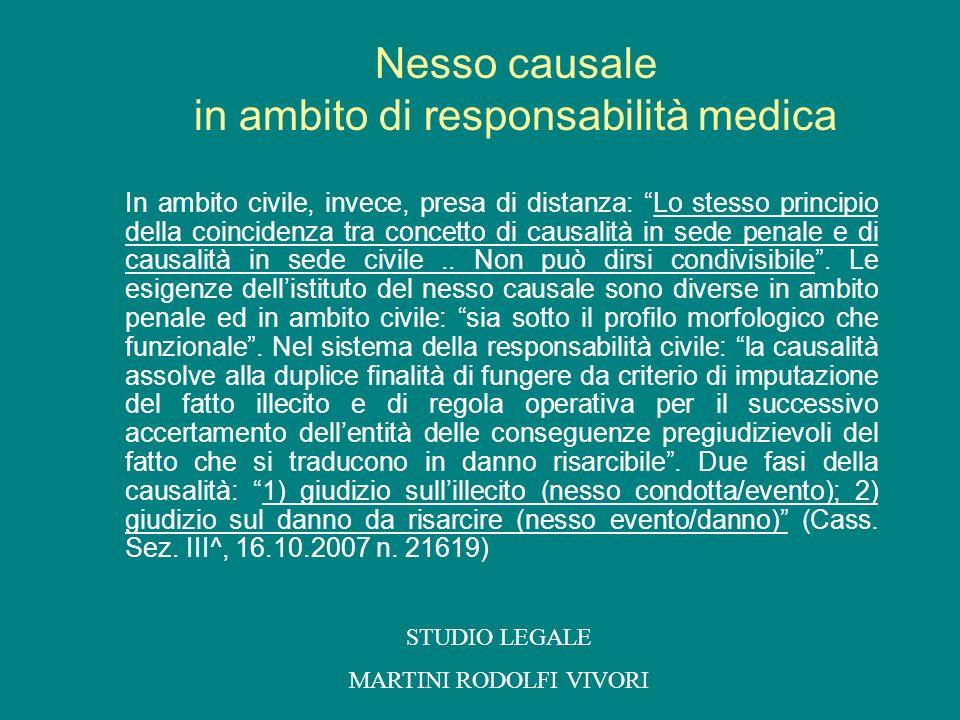 Nesso causale in ambito di responsabilità medica
