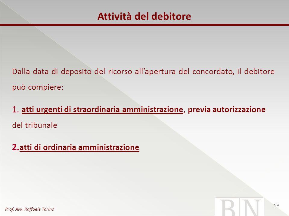 Attività del debitore Dalla data di deposito del ricorso all'apertura del concordato, il debitore può compiere: