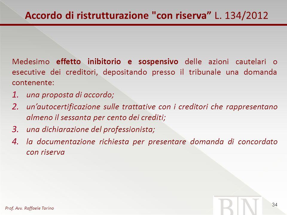 Accordo di ristrutturazione con riserva L. 134/2012