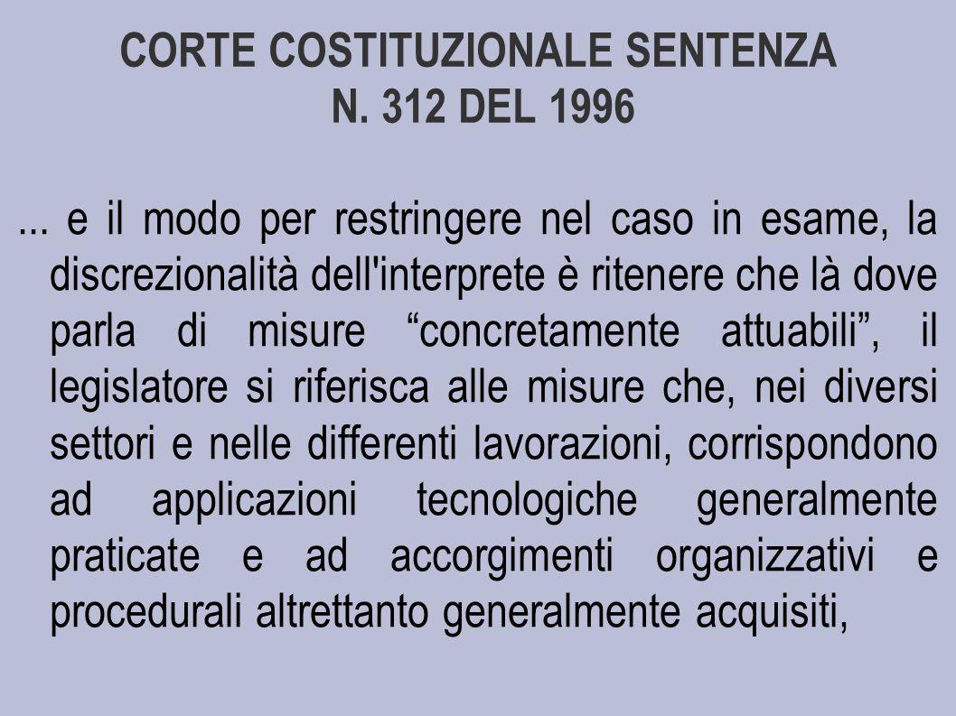 CORTE COSTITUZIONALE SENTENZA N. 312 DEL 1996