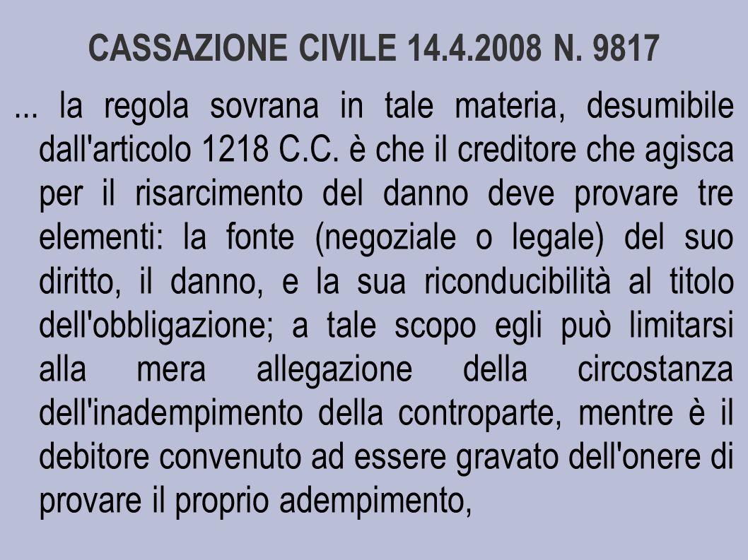 CASSAZIONE CIVILE 14.4.2008 N. 9817
