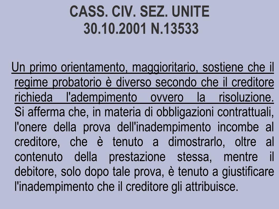 CASS. CIV. SEZ. UNITE 30.10.2001 N.13533