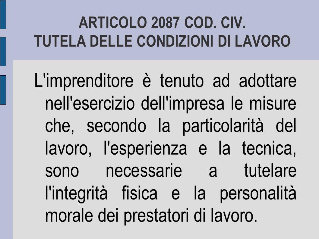 ARTICOLO 2087 COD. CIV. TUTELA DELLE CONDIZIONI DI LAVORO
